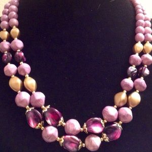 Jewelry - VINTAGE PURPLE AND GOLD BEADED NECKLACE